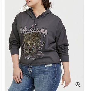 NWT torrid size 1 Def Leppard cropped hoodie
